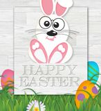 Happy Easter Card With Bunny on Wood Background. Classy Vector Happy Easter Card With Bunny on Wood Background Illustration Art Fun Kids vector illustration