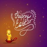 Happy Easter card with burning candle. Happy Easter typographical gradient background a burning candle from which sparks fly away. Fairytale  Holiday Royalty Free Stock Images