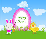 Happy Easter card with chick and rabbits nearby eggs Stock Photography