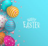 Happy Easter card of color eggs and spring flower