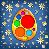 Happy Easter card - colored easter egg and flowers Royalty Free Stock Photography
