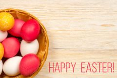 Happy easter card with colored eggs Stock Photography