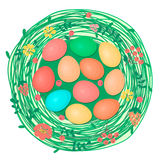 Happy Easter card with colored eggs in nest. Stock Image