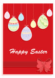 Happy Easter card. With colored eggs on a red background Stock Image
