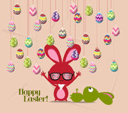 Happy easter card, colorful egg, rabbit.  Royalty Free Stock Photos