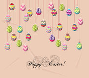 Happy easter card, colorful eggs.  Royalty Free Stock Images