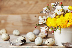 Happy Easter card with colorful flowers, feather and quail eggs on vintage wooden background. Beautiful spring composition. Stock Photos