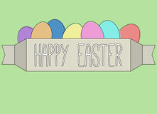 Happy Easter card. Colorful card with text and eggs on green background Stock Photography