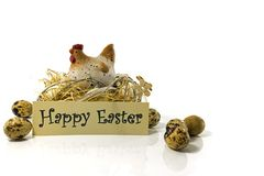 Happy easter card with copy space isolated on white royalty free stock photography