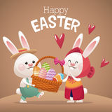 Happy easter card couple bunny basket egg Royalty Free Stock Images