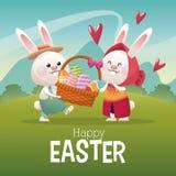 Happy easter card couple bunny basket egg landscape Stock Image