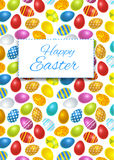 Happy easter card cover with colourful eggs Stock Images