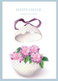 Happy Easter card with cracked egg and spring floral bouquet. Vintage retro style Postcard. Delicate Stock Image