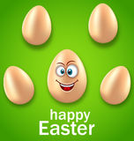 Happy Easter Card with Crazy Egg, Humor Invitation Royalty Free Stock Images