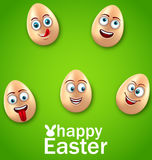 Happy Easter Card with Crazy Eggs, Positive Emotions Stock Image