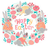 Happy Easter card with cute bunnies and colored. Eggs. Vector illustration Stock Image