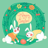 Happy Easter card with cute bunnies. Stock Images