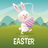 Happy easter card cute bunny egg landscape Stock Image