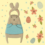 Happy Easter card with cute bunny Stock Photos