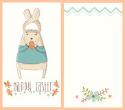 Happy Easter card with cute bunny - eps 10 Royalty Free Stock Photo