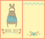 Happy Easter card with cute bunny Stock Images