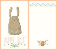 Happy Easter card with cute bunny Stock Image