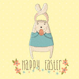 Happy Easter card with cute bunny Royalty Free Stock Photo