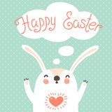 Happy Easter card with cute bunny. Royalty Free Stock Image