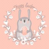 Happy Easter card with cute bunny. Royalty Free Stock Photos