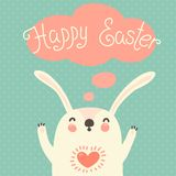 Happy Easter card with cute bunny. Stock Photography