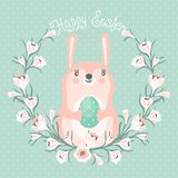 Happy Easter card with cute bunny. Royalty Free Stock Images