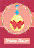 Happy Easter card,with cute bunny. Yellow egg,red ribbon and floral decoration Stock Images