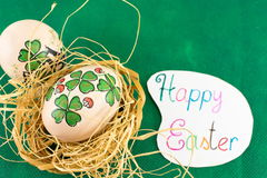 Happy Easter card with decorated Easter eggs Stock Photography