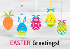 Happy easter card. With easter decorated eggs Royalty Free Stock Images
