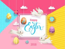 Happy Easter card decorated eggs hanging on strings abstract background, funny little bunnies, flowers, clouds, square. Frame and Happy Easter hand lettering Stock Photos