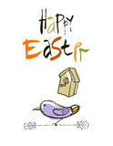 Happy Easter card design, calligraphic text, lettering. Hand drawn stylized flowers and butterflies on white background. Stock Photography