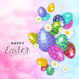 Happy Easter Card Design Holiday Background With Flowers And Colorful Eggs. Vector Illustration Stock Images