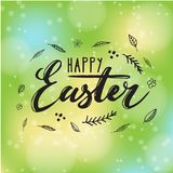 Happy Easter card design with modern calligraphy, hand drawn lettering - green color Stock Images