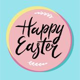 Happy Easter card design - modern calligraphy, hand drawn lettering. Mint blue background Royalty Free Stock Images