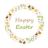 Happy easter. Card design with silhouettes Stock Photography