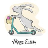 Happy Easter card dessign.Vector illustration of cute Easter Bunny riding a scooter. Stock Image