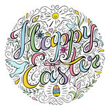 Happy Easter card with doodle style handwritten greeting. Hand drawn celebration quote. Many spring attributes in line art. Freehand lettering and decorative Royalty Free Stock Photos