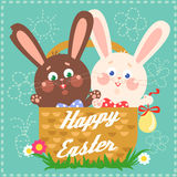 Happy Easter card with easter bunnies Royalty Free Stock Photo