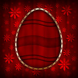 Happy Easter Card - easter egg in golden frame Royalty Free Stock Photography
