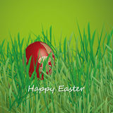 Happy Easter Card - Easter Egg in the Grass Stock Photos
