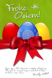Happy Easter card with easter eggs, bow and copyspace Stock Photo