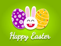 Happy easter card with easter eggs and bunny. Stock Images