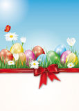 Happy Easter card with easter eggs and place for text Stock Photography