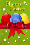 Happy Easter card with easter eggs and red bow Royalty Free Stock Image