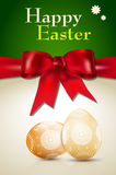 Happy Easter card with easter eggs and red bow Stock Images